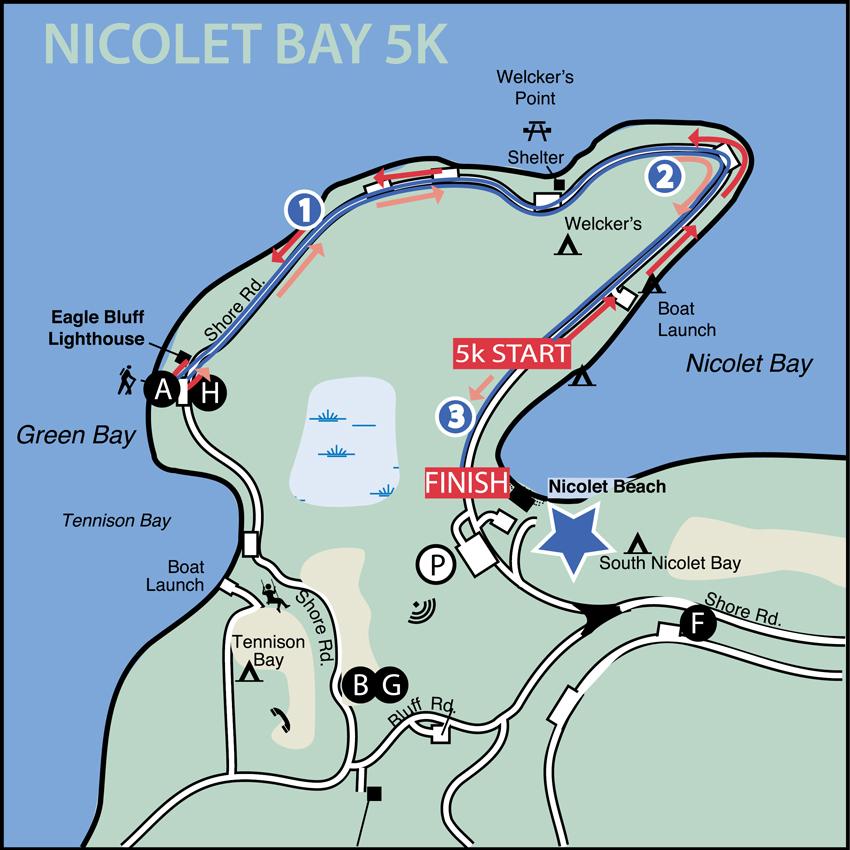 NicoletBay5k-Map - Door County Half Marathon on